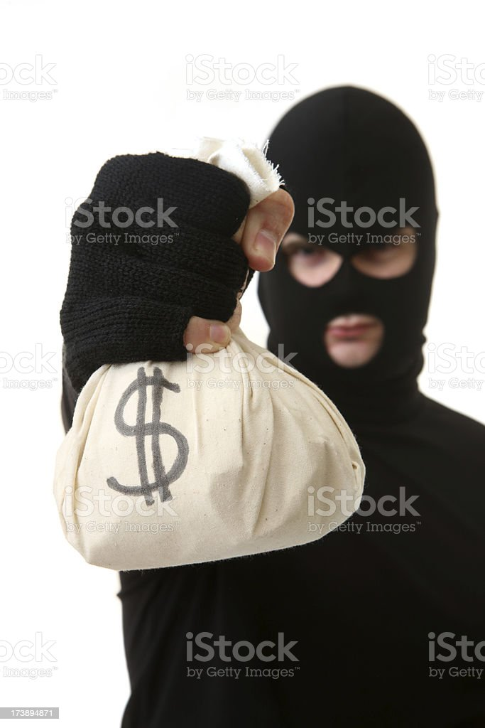Criminal with Loot royalty-free stock photo