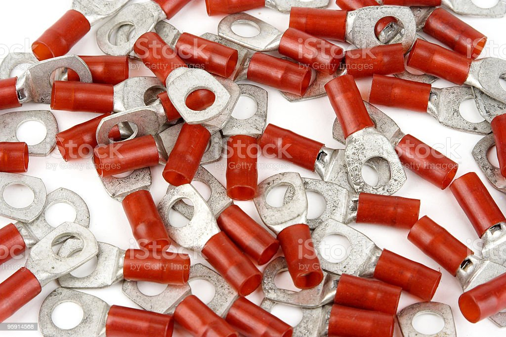 Crimp Connectors On White Background royalty-free stock photo