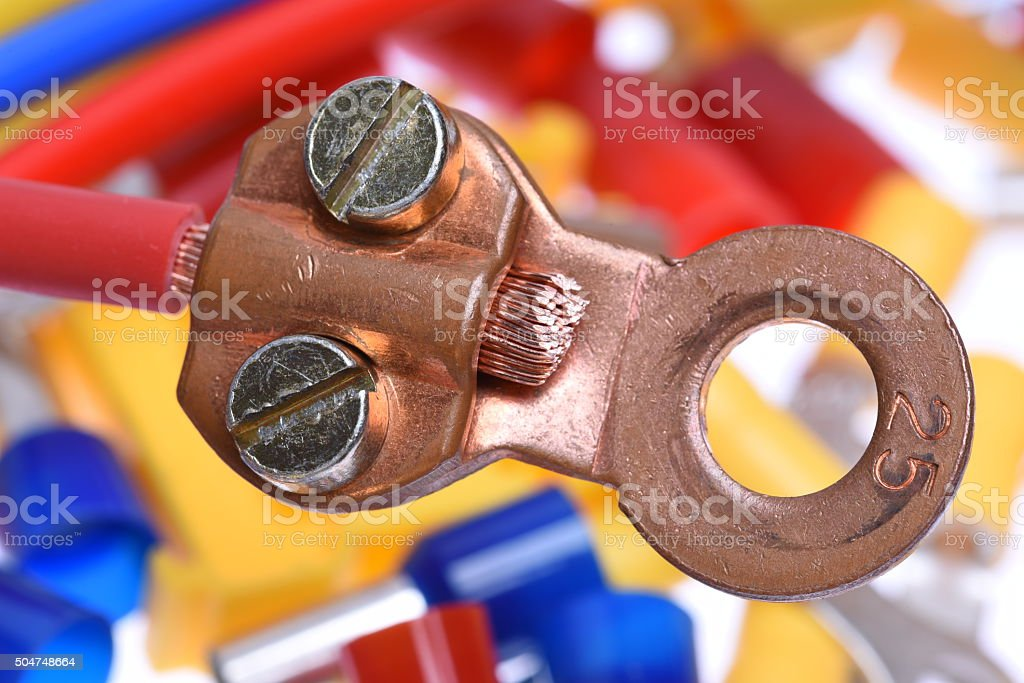 Crimp Terminals electrical accessories stock photo