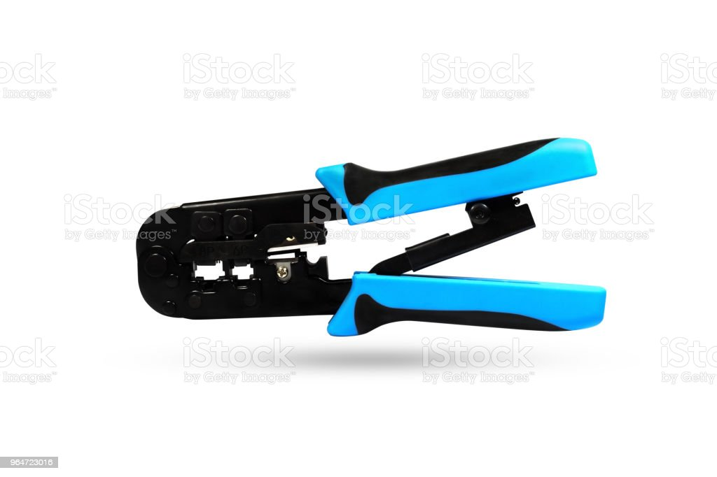 Crimper for RJ-45 and RJ-11 isolated on white background. Studio shot clipping path. royalty-free stock photo