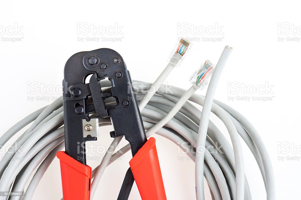 Crimping tool and network coil stock photo