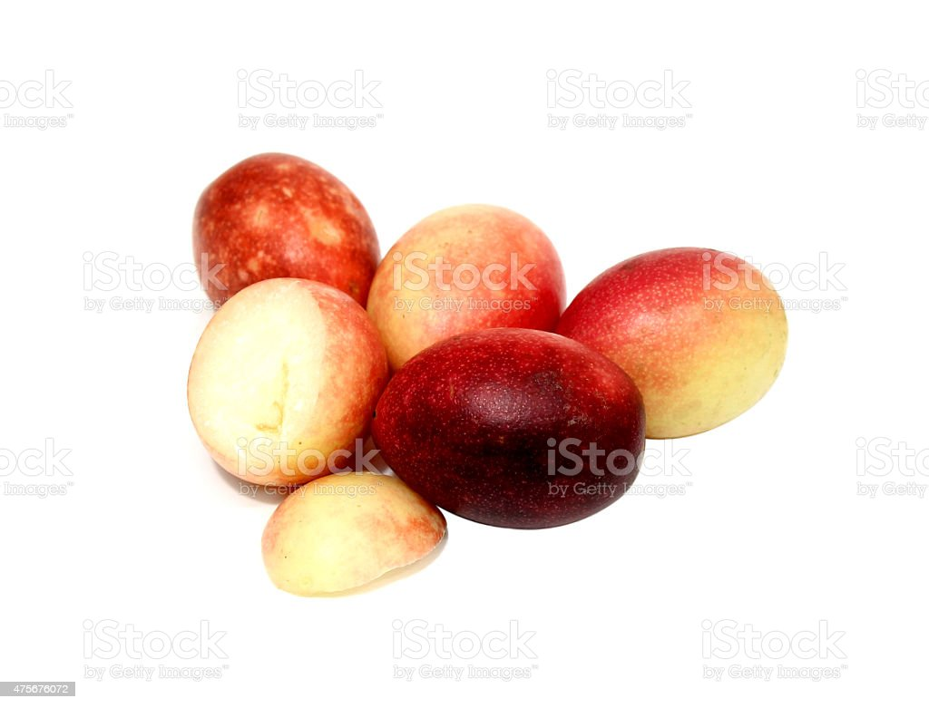 Crimson Carissa macrocarpa fruits ou photo libre de droits
