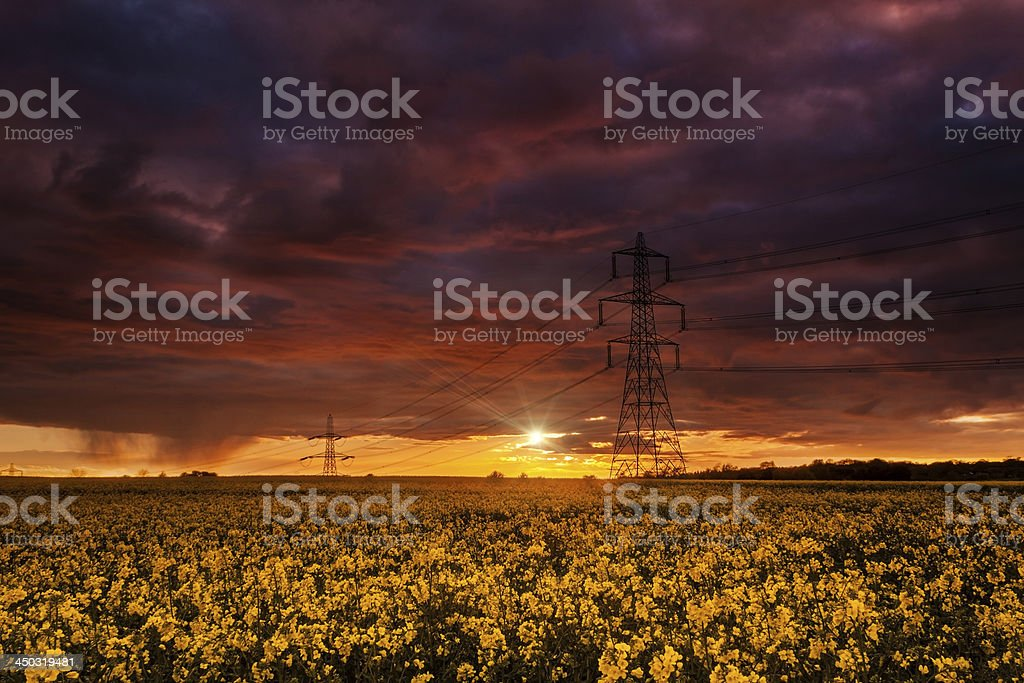 Crimson skies and power generation royalty-free stock photo