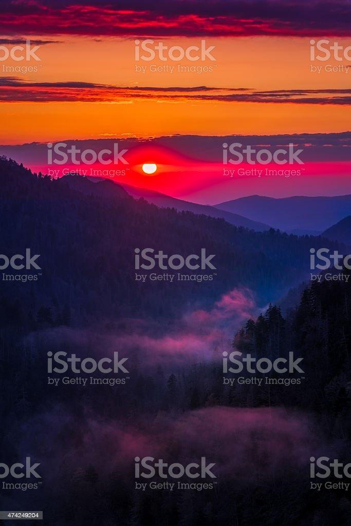 Crimson Sunset at Morton's Overlook stock photo