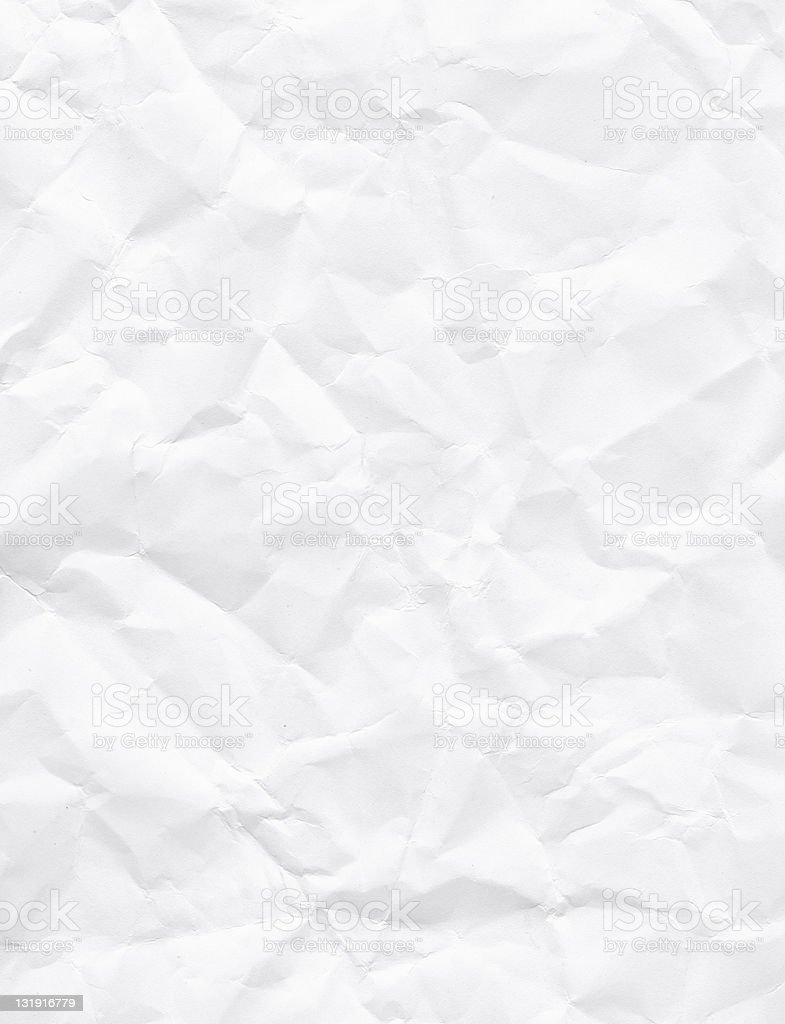 Crinkled white paper as a texture stock photo