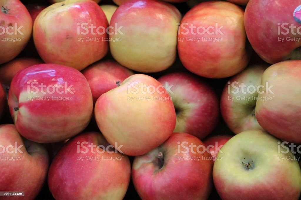 Cripps Pink Apples at the market in Fremantle, Western Australia stock photo