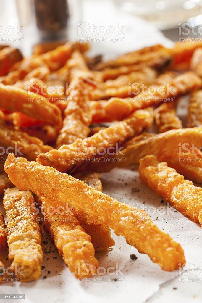 Cripsy Organic Sweet Potato Fries royalty-free stock photo