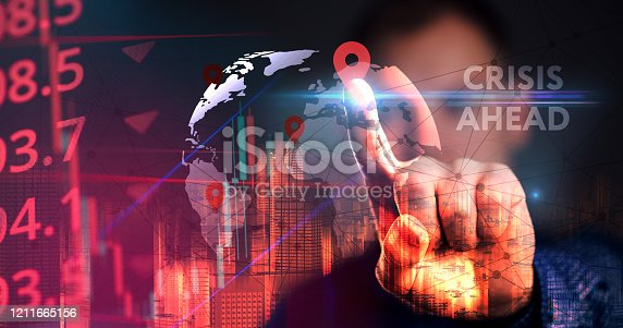 istock Crisis ahead concept for financial problems, risk and economic depression. 1211665156