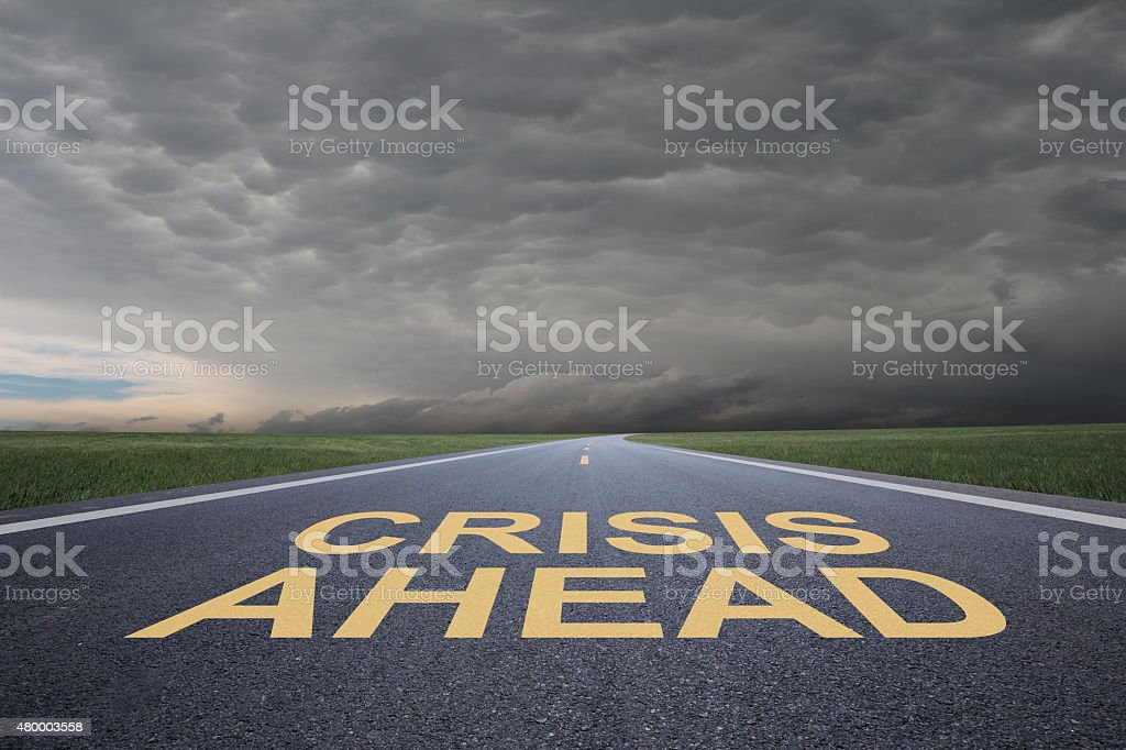 crisis ahead stock photo