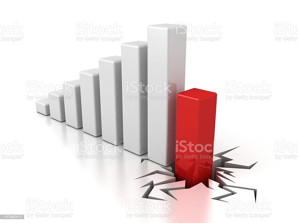 crisis bar chart diagram on white background royalty-free stock photo