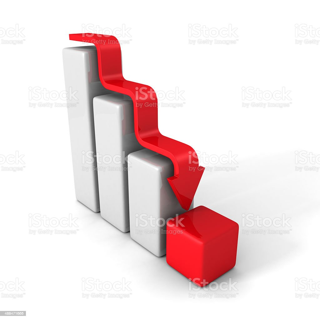Crisis Bar Graph With Down Arrow stock photo