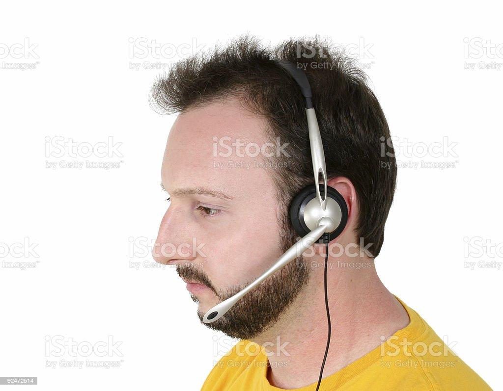 Crisis Center Volunteer Or Phone Support Man Listening royalty-free stock photo
