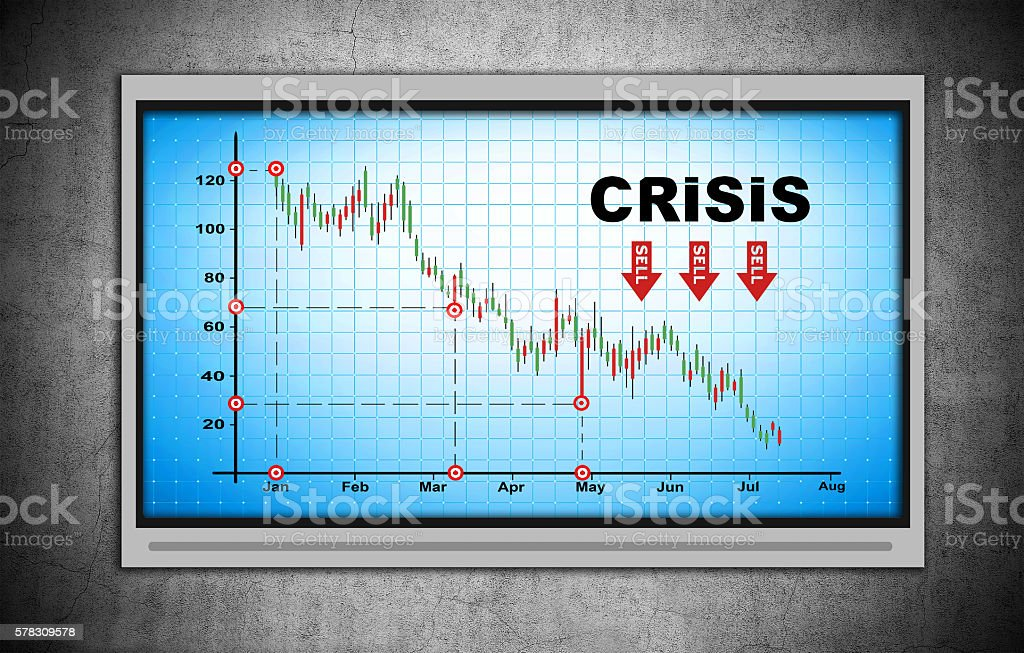 crisis chart on blue screen stock photo