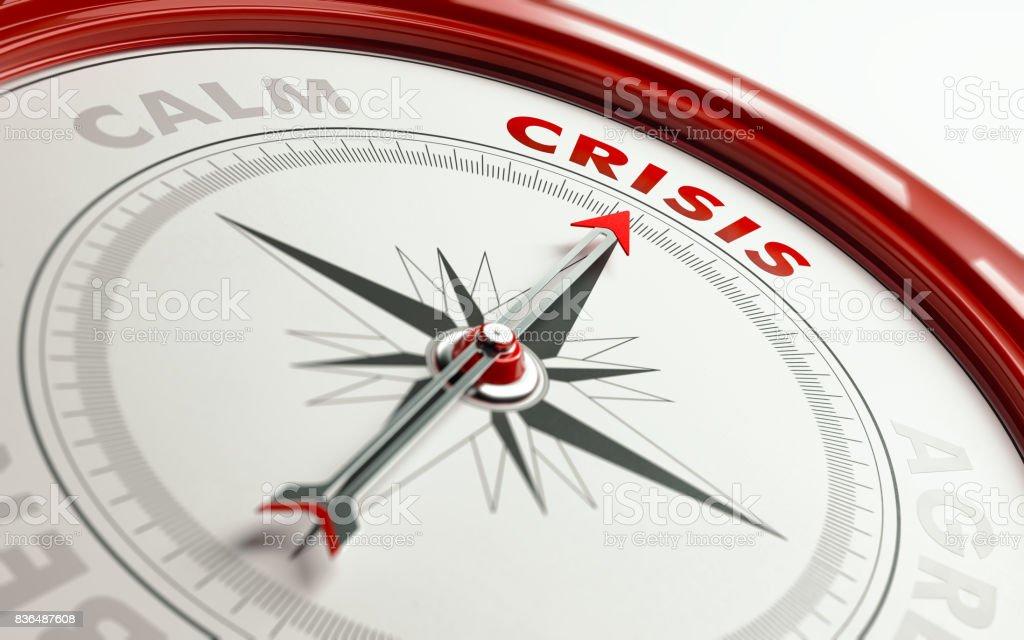 Crisis Concept: Arrow of A Compass Pointing Crisis Text stock photo