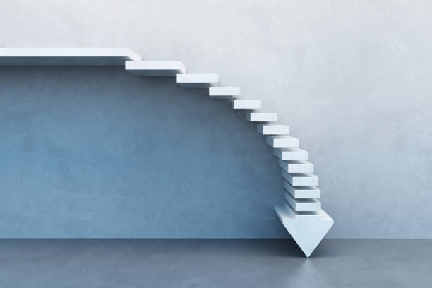 crisis concept, falling stairs stock photo