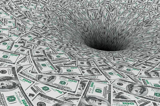 Notion de crise. La circulation de l'argent dans le trou noir - Photo