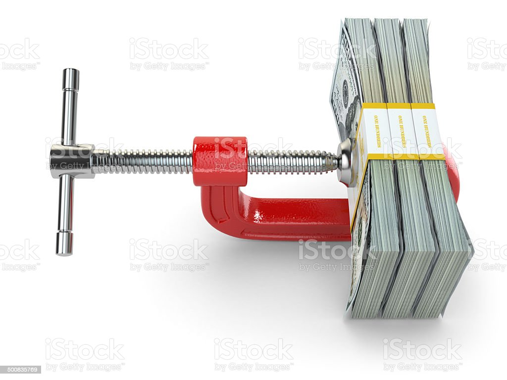 Crisis. concept of reducing costs. Vise and dollars. stock photo