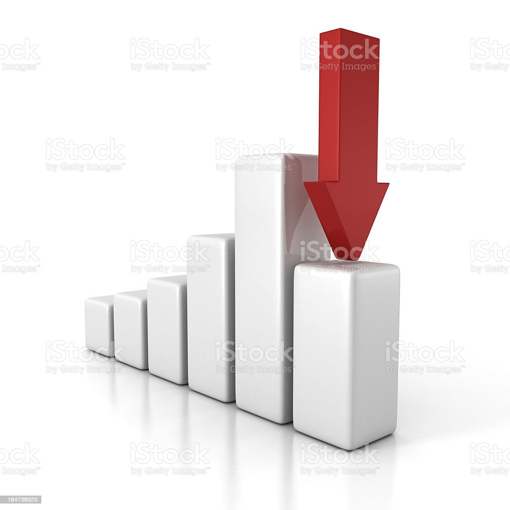 crisis financial bar diagram with arrow pointing down stock photo