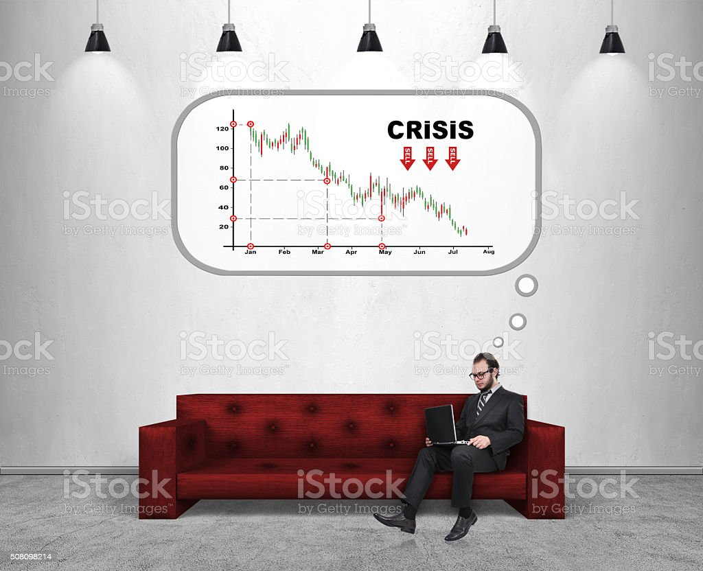 crisis in business stock photo