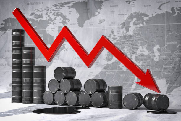 Crisis in oil and petroleum ndustry. Oil barrels and falling graph on world map background. Oil price or production decrease concept. 3d illustration stock photo