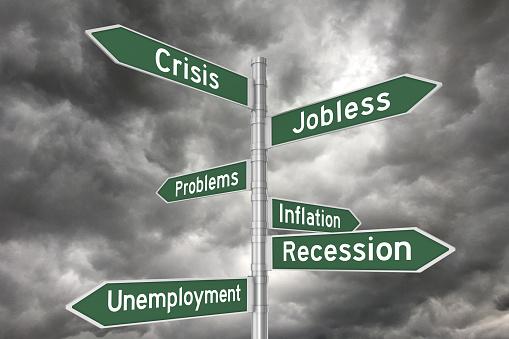 Crisis recession unemployment directional sign