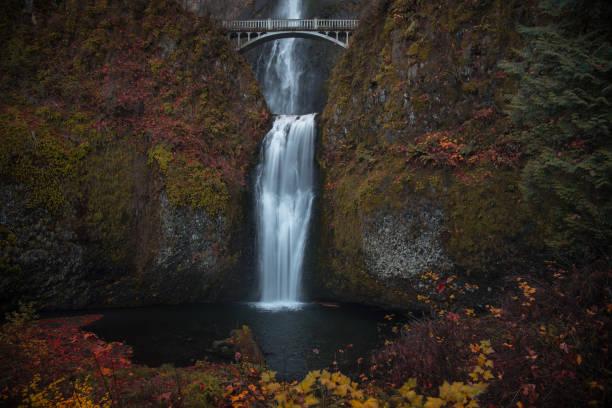 Crisp and colorful November morning at Multnomah Falls, Oregon stock photo