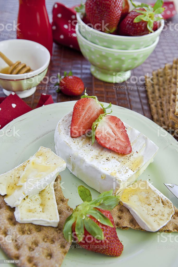 Crisp bread and cheese stock photo
