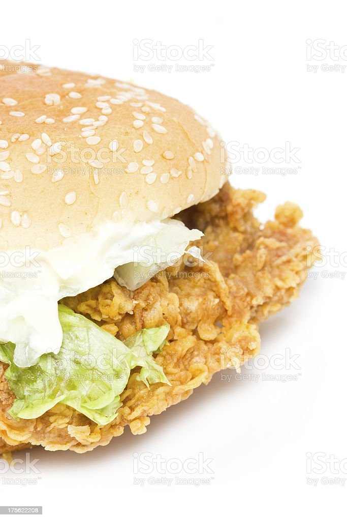 Crisp chicken burger with lettuce. royalty-free stock photo