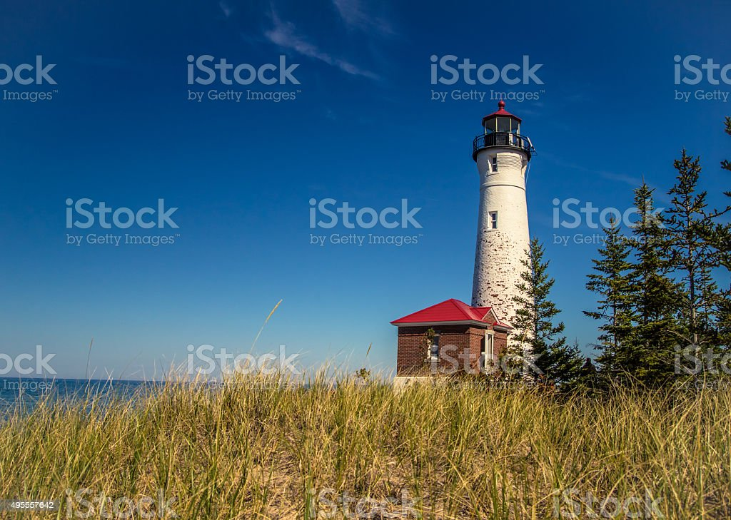 Crisp Point Lighthouse On Lake Superior stock photo