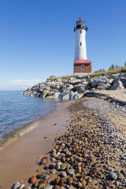 Crisp Point Lighthouse on Lake Superior shoreline