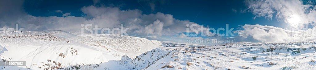 Crisp white winter wilderness panorama stock photo