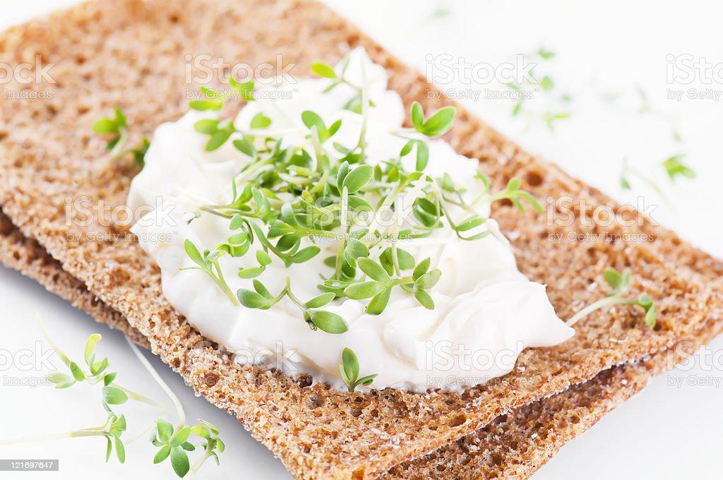 crispbread with Fresh Cheese royalty-free stock photo