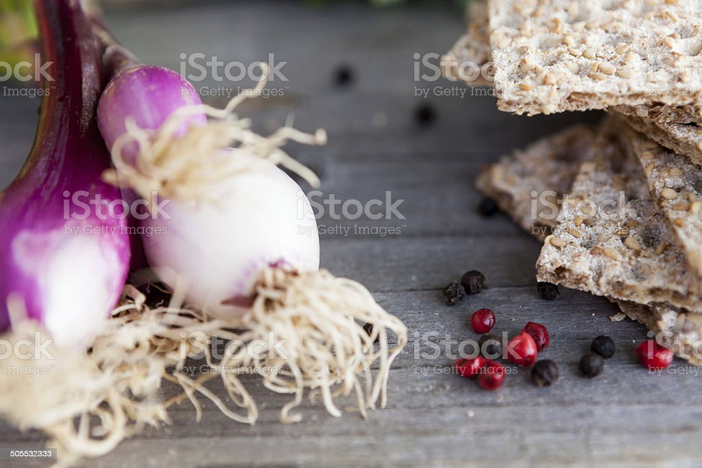 Crispbread with onion and pepper stock photo