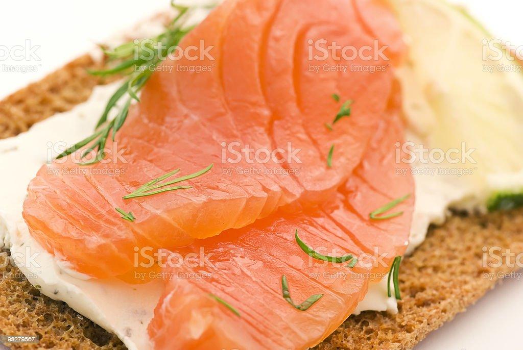 Crispbread with Salmon royalty-free stock photo