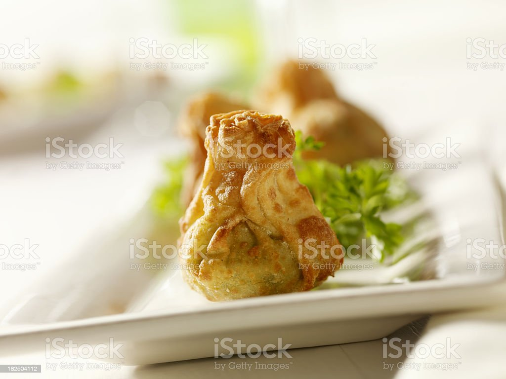 Crispy Appetizer Pouches with Spinach royalty-free stock photo