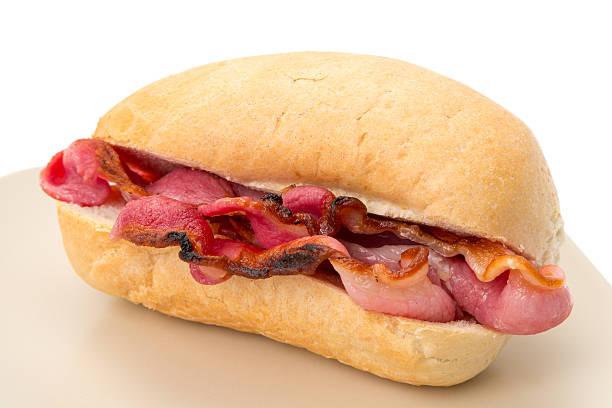 Crispy bacon roll stock photo