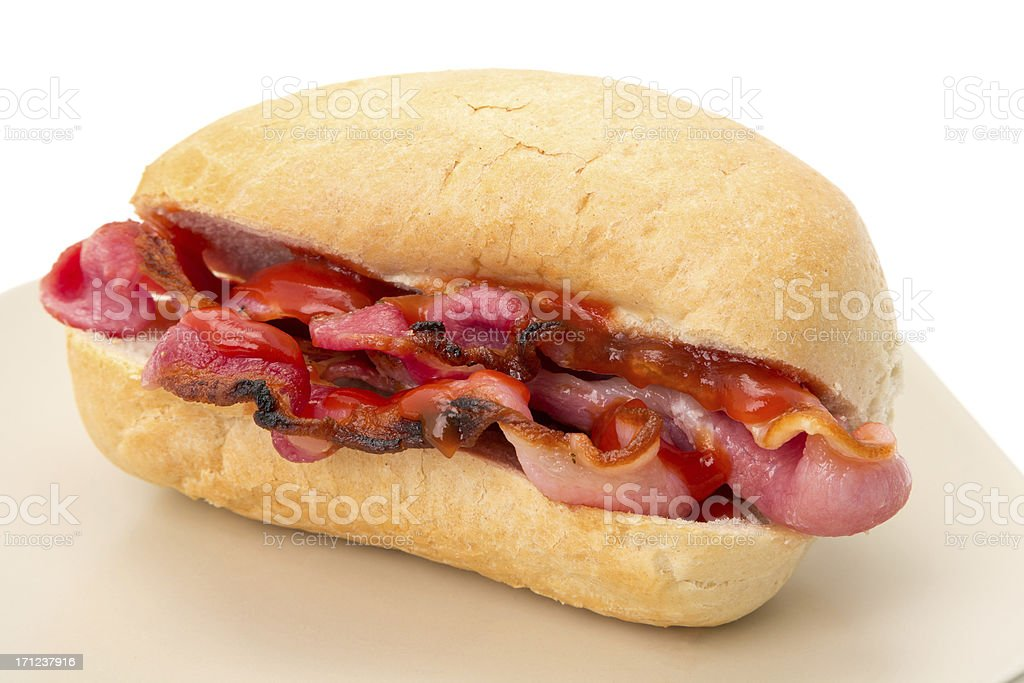 Crispy bacon roll with tomato ketchup stock photo
