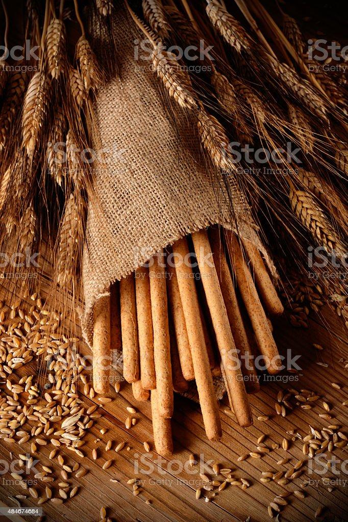 Crispy bread sticks on the table stock photo