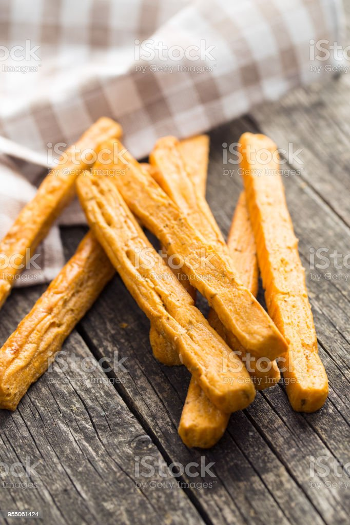 Crispy bread sticks stock photo