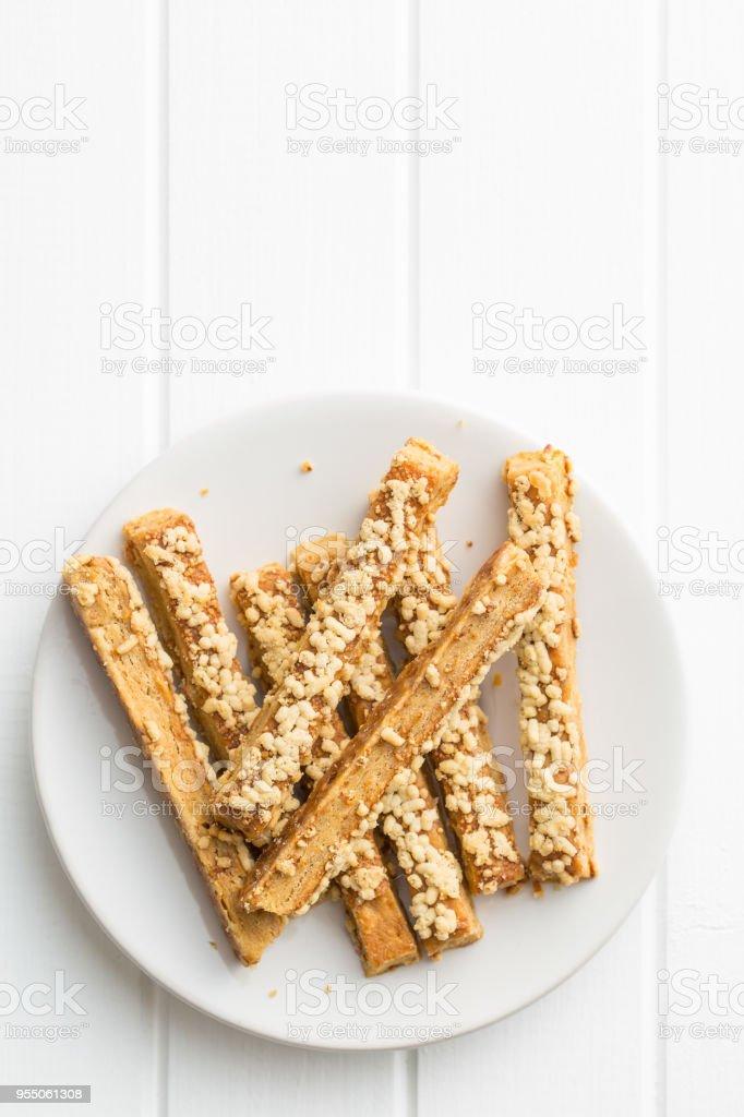 Crispy bread sticks with cheese stock photo