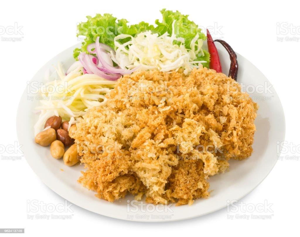 Catfish croustillant salade de mangue verte et légumes - Photo de Aliment libre de droits