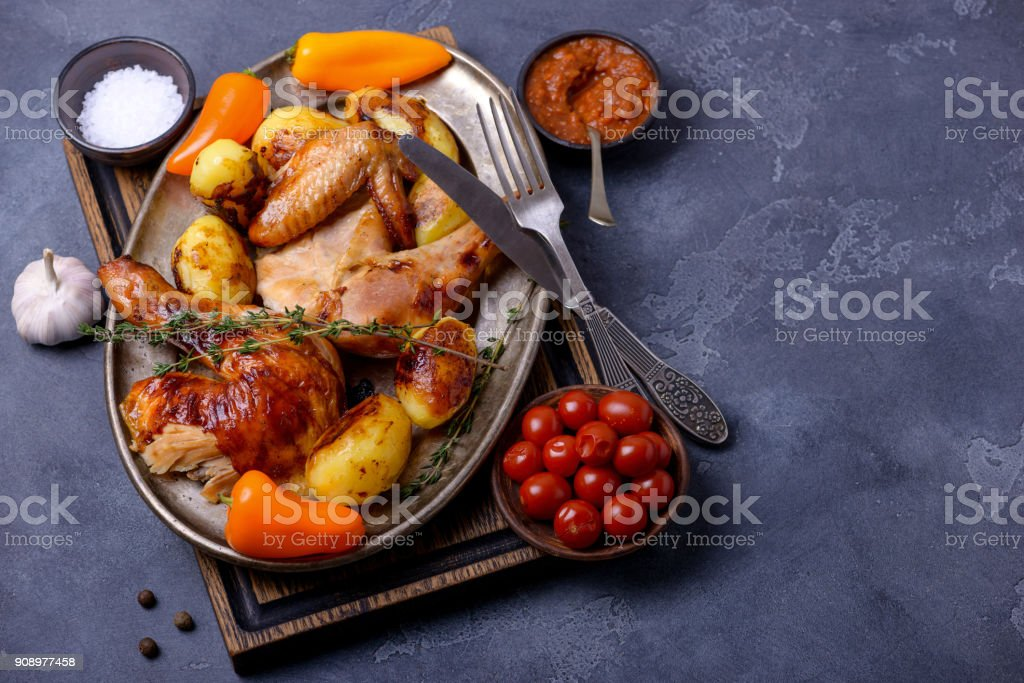 Crispy chicken and sauce stock photo