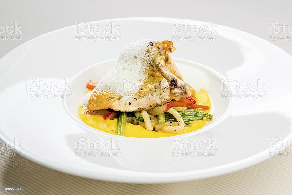 Crispy chicken breast and garnish royalty-free stock photo