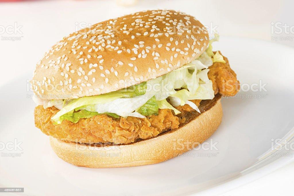 Crispy chicken burger close-up stock photo