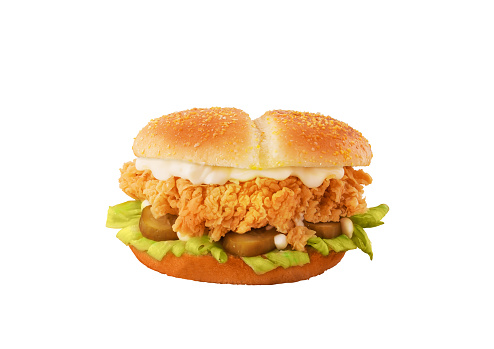 Crispy Chicken Burger isolated on white background