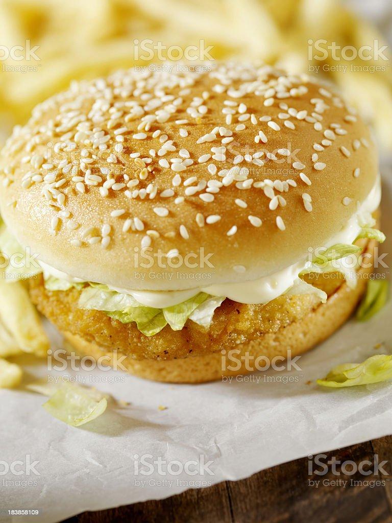 Crispy Chicken Burger royalty-free stock photo