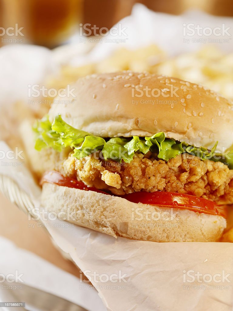 Crispy Chicken Burger with a Beer royalty-free stock photo