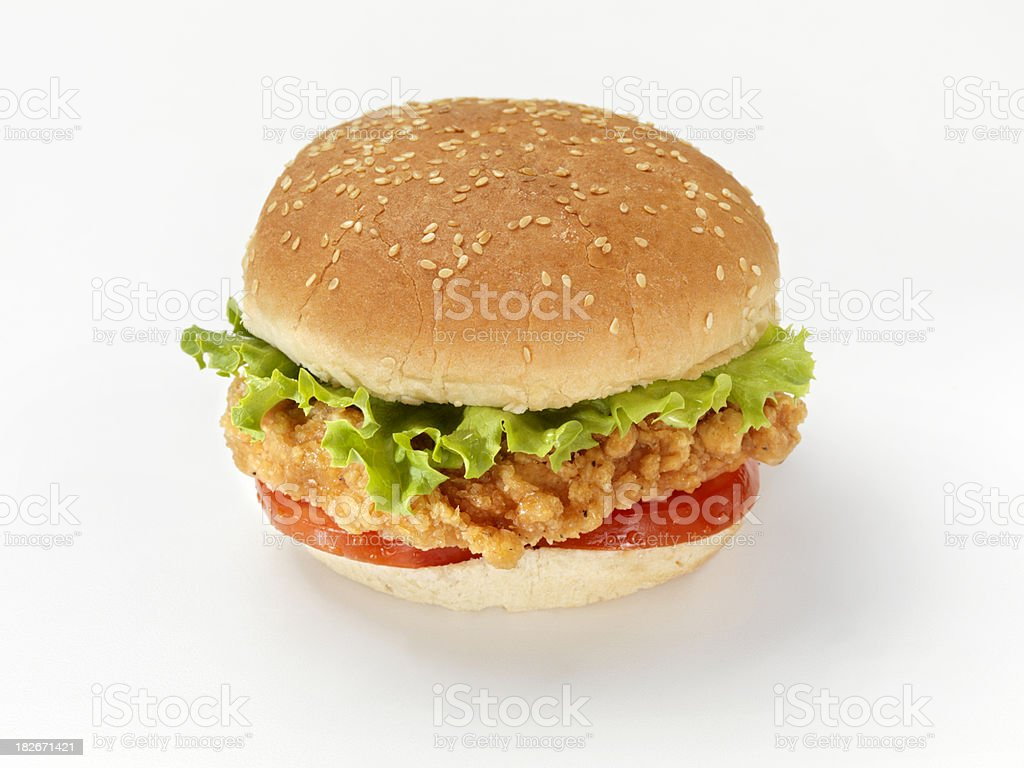 Crispy Chicken Burger with Lettuce and Tomato royalty-free stock photo