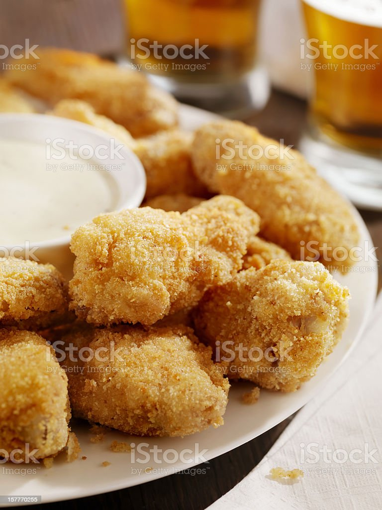 Crispy Chicken Wings and Beer royalty-free stock photo