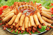 Crispy Chinese Traditional Shrimp Spring rolls food
